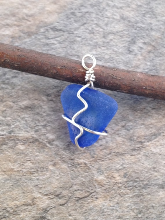 Cornflower Blue Sterling Silver Wire Wrapped Beach Glass Sea Glass Necklace Pendant
