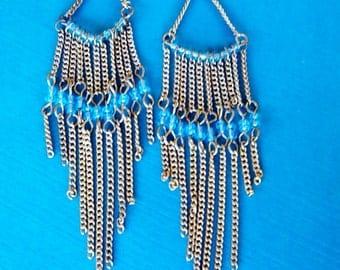 Vintage Boho Chandelier Earrings 1980s