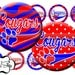 Instant Download Bottle Cap Image Sheet - Cougars Paw School Mascot, Red, Blue - 1 inch Circles