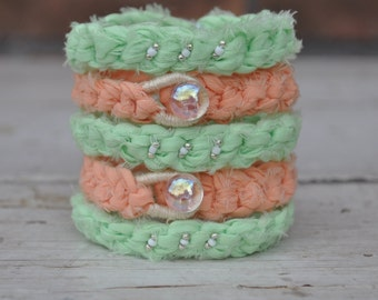 Crocheted Layering Bracelet Mint Green