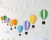 colorful garland - 9 hot air balloons - baby garland - Garland - Wall decoration - bunting -banner