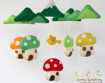 Mushrooms village baby mobile - mushroom mobile - spring baby mobile - colorful - baby mobile