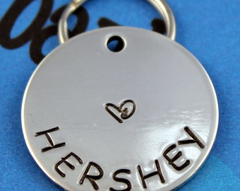 Simple Pet ID Tag - Dog or Cat Name Tag - Unique Personalized - Dog ID Tag With Heart
