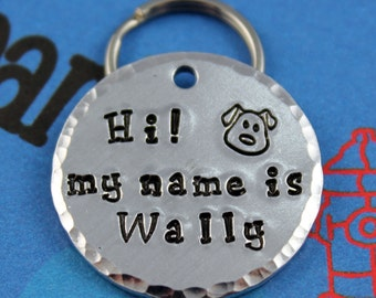 Handstamped Aluminum Pet ID Tag - Personalized Dog Name Tag - Custom - Other Metals Available