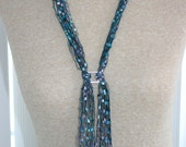 Lanyard, or Scarf with differrent shades of turquoise, and lavender (ribbon yarn)