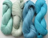 Linen Yarn Turquoise Blue Azure Green Gray 400 gr (14 oz ), Cobweb / 1 ply, each hank contains approximately 3000 yds