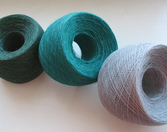 Linen Yarn Dark Green Dove Gray 200 gr (7 oz ), skein / 1 ply, each skein contains approximately 1900-2100 yds