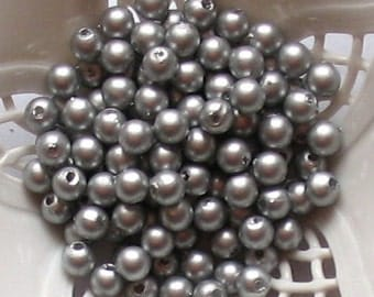 Beads Plastic Gray Silver  5mm Round 35 pcs pearl-shell