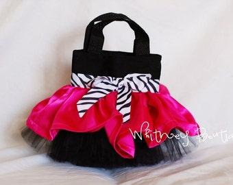 Hot Pink, Black & Zebra Mini Tutu Tote