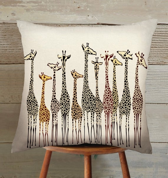 Items Similar To Giraffe Suede Pillow Cover Handmade On Etsy