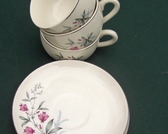Canonsburg Allegheny Ware - Larkspur Fern Valley Pattern - Pink and Grey with Platinum - Set of 5 Cups and Saucers