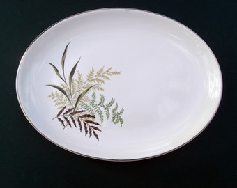 Homer Laughlin Rhythm RARE Fantasy Pattern with Gold Trim Brown Tan and Green Ferns and Leaves - Large Oval Serving Platter
