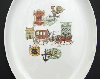 Taylor Smith and Taylor Ever Yours Shape Vintage Cape Cod Pattern Stagecoach Colonial - Large Oval Serving Platter