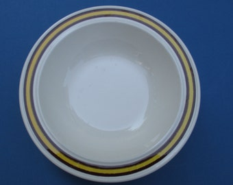 Homer Laughlin Company  International Shape - Brown and Yellow Bands Summit Pattern -  Vegetable Serving Bowl