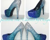 Glitter High Heels - Ombre Pumps - Platform Shoes - Royal Blue Aqua Turquoise Light Silver