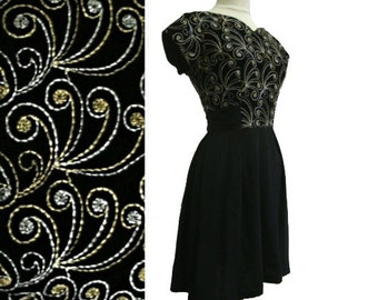 50's Metallic LBD Embroidered Velvet and Chiffon