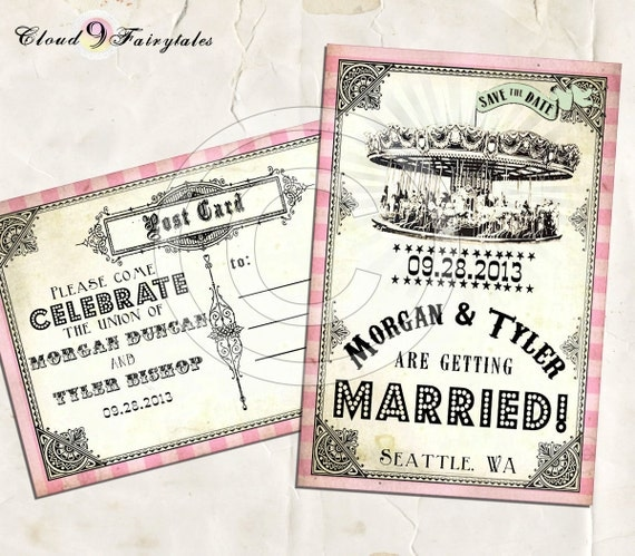 Items Similar To Vintage Circus Save The Date Postcards