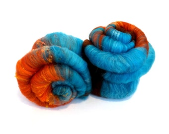 Spinning batts - Merino Wool - Tussah silk - Noil - 100g - 3.5oz - Turquoise - Blue - Orange - COOL BEANS