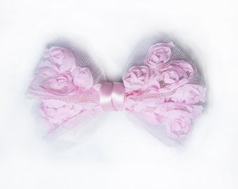 SALE 50% OFF Pink Organza Rose Bow Hair Clip Hair Accessories