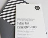 Monogram Wedding Invitation, Modern Wedding Invitation, Grey Wedding Invitation Suite with Belly Band - Simple Monogram | Sample Set