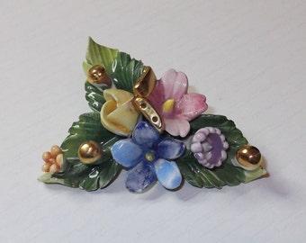 Vintage Hand Painted Porcelain Flower Brooch