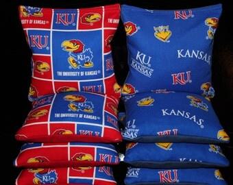 University of KANSAS JAYHAWKS Cornhole Corn Hole Bean Bags AcA Regulation KU Cornhole Bags Top Quality Handmade