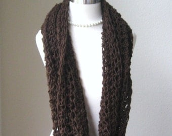 BROWN INFINITY SCARF Neckwarmer Crochet Knit Fall Winter Fashion, Accessories, Handmade, Gift for Him, Gift for Her