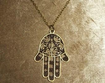 Brass Hamsa Hand Necklace,Antique Brass Necklace,Boho jewelry,Long Necklace,Protection pendant,Sacred symbol