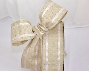 "BURLAP RIBBON with Striped PINK and White Checked Trim - 3 Yards by 1&1/2"" wide -VinTaGe Fancy Burlap Ribbon ,Packages, Homemade Gifts"