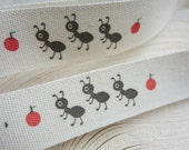 PRINTED COTTON TAPE - Insects and ants Kawaii Ribbon.  3m or 3.3 Yards. 'Procession on Ants' . 1.5cm Wide