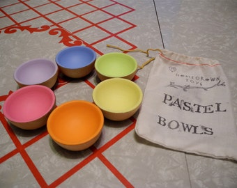 Wooden Toy - The ORIGINAL Pastel Wooden Sorting Bowls / Educational Waldorf Toys, Play Kitchen