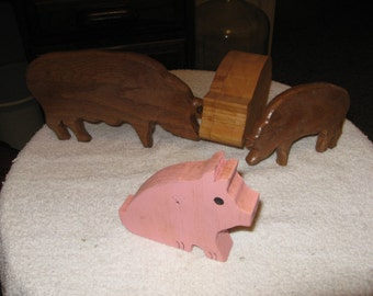 Collection of wooden pigs