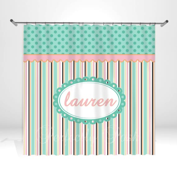 Personalized Stripe Shower Curtain by ItsPerfectlyPosh on Etsy