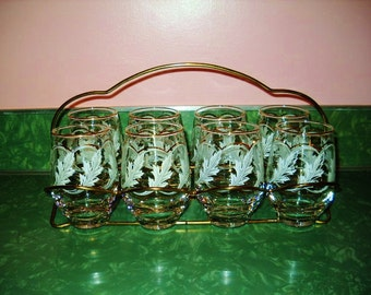 Mid Century Modern #LIBBEY TUMBLER SET of 8 white acanthus leaves gold trimmed folding brass rack Mad Men 1960s