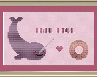 Donut and narwhal true love: cute cross-stitch pattern