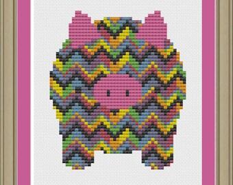 Rainbow chevron stripe pig: cute cross-stitch pattern