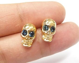 Skull earrings, Skull jewelry, skeleton earrings, Whimsical earrings.