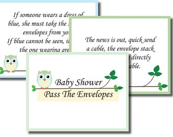 INSTANT DOWNLOAD Pass the Envelopes Baby Shower Game Boy Girl Neutral