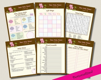 Personalized Pink Owl Baby Shower Game Pack Bingo Word Search Scramble DIY