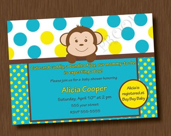 Printable Invitation MOD MONKEY Boy Baby Shower Invitation Boy Neutral Birthday Party Invites Blue Yellow