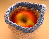Crocheted Apple Cozy in off-white and blue