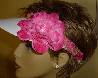 Breast Cancer Awareness White Sun Visor with Hot Pink Polka Dot Flower, Breast Cancer Awareness Golf Sun Visor, White and Pink Ribbon Visor