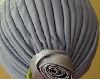 Chemo Grey Turban with Gray Satin Rosette, Chemo Turban in Gray with White Flower