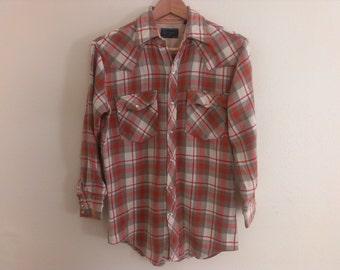 80s vintage men's medium acrylic plaid shirt, sleeves have been shortened