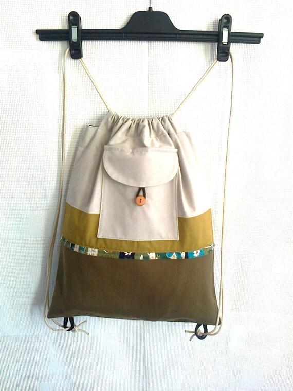 Backpack Drawstring backpack Gray khaki backpack Canvas backpack Lined backpack Recycled backpack Upcycled backpack Women girl backpack