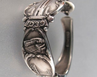 1939 San Francisco Ring. STERLING SILVER Spoon Ring. Golden Gate International Exposition .Mens Spoon Ring 9 -12 No.002