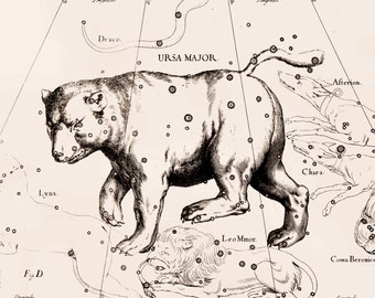 Constellation print, Star map, Zodiac print, ursa major constellation uranographia, 141