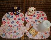 set of four Asian flower  mini placemat Japanese kimono pattern cotton fabric