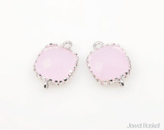 2pcs - Ice Pink color and Silver Framed Glass Connector / ice pink / rhodium plated / pink / glass / connector / 8mm x12mm / SPKS004-C
