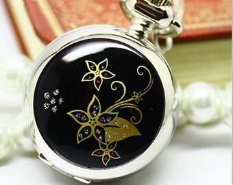 1pcs black flower  pocket watch charms pendant    25mmx25mm